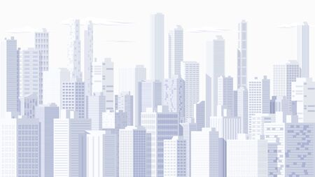 High detailed panoramic vector cityscape.