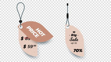 Realistic Carton Hanging Sale Tags. Set Of Isolated Vector Paper Sale Labels. Christmas Sale Tags. Vector Design Elements