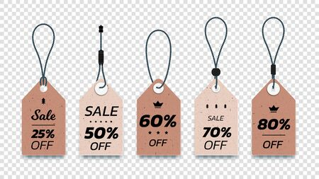 Realistic Carton Hanging Sale Tags. Set Of Isolated Vector Paper Sale Labels. Christmas Sale Tags. Vector Design Elements. 일러스트