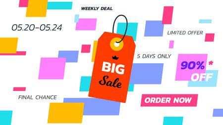 Abstract big sale banner. Vector hanging tag. Template for special offer design.