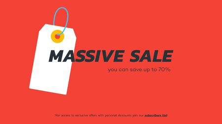 Abstract massive sale banner. Vector hanging tag. Template for special offer design.
