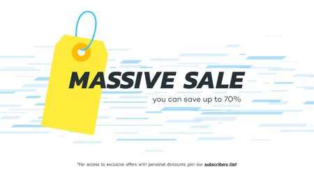 Abstract massive sale banner. Vector hanging tag. Template for special offer design