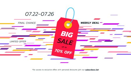 Abstract big sale banner. Vector hanging tag. Template for special offer design
