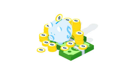 Stack of money with piggy bank. Vector isometric illustration. Vector pile with golden dollar coin and money bundle. Set of isometric money coins 일러스트