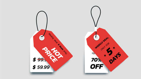 Flat Paper Sale Tags. Set Of Isolated Vector Sale Labels. Christmas Sale Tags.Vector Design Elements