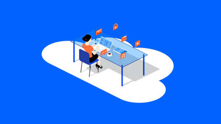 A woman sits at a table and works with the team through a cloud service. Conceptual isometric vector illustration Ilustrace