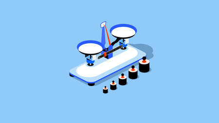 Isometric Table Balance Scale. Mechanical Scale with Weights. School Physics Teaching Tool. Vector Artwork