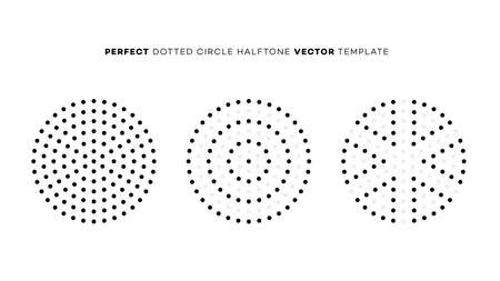 Vector geometric perfect dotted halftone circle. Vector design element. Overlay texture. Branding element Vettoriali