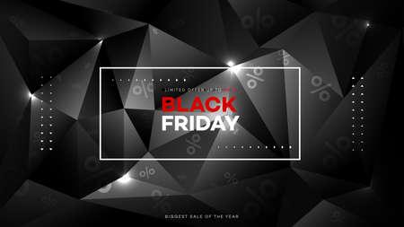 Black friday sale. Realistic background diamond polygon. Black friday banner. Dark background header for website