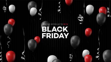 Black friday sale. Realistic background flying ballooons. Black friday banner. Dark background header for website
