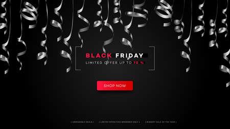 Black friday sale. Realistic background flying ribbons. Black friday banner. Dark background header for website Vettoriali