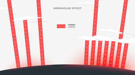 Abstract Greenhouse Effect. Coceptual Educational Flat Vector Illustration
