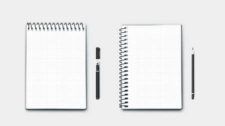 Realistic Vector Perfect Paper A4 Size Notebooks, Horizontal And Vertical With Pen And Pencil. Isolated On Blue Background Modern Illustration