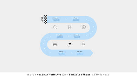 Infographic Timeline With Editable Strokes. Vector Roadmap, Template For Modern Business Presentation, Annual Reports, Layouts Vettoriali