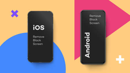 Noname mobile phones templates for both operation systems. Vector template for mobile application showcase. Vettoriali