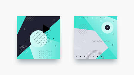Dark vector geometric backround. Abstract design styled vintage trends 80-s. Minimalistic background