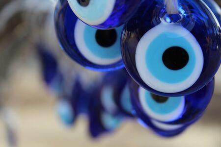 evil eyes: evil eyes close-up in evil eye tree cappadocia Stock Photo