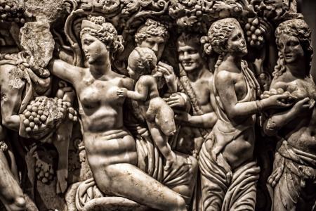 Antique Alter Marble Gesicht und Körper Statue Editorial