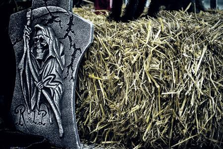 phen: skeleton stone in the hayloft Stock Photo