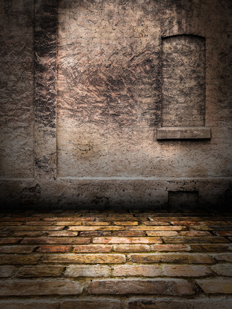 urban decay: Stone Wall interior Stage Stock Photo