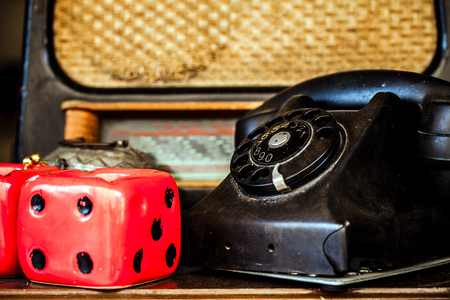 Vintage Telephone and Dice photo