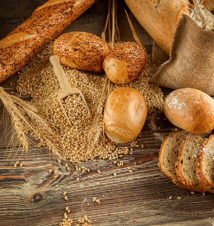 food concept: Bread Food and Wheat Concept Background Stock Photo