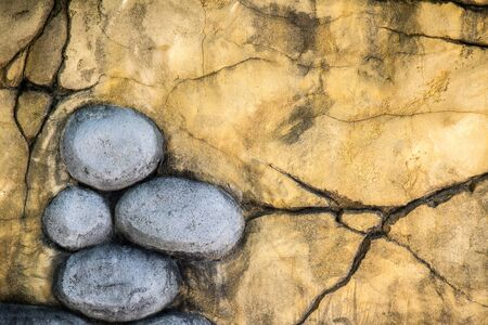 crack wall: Grunge Crack Wall and Stones  Background