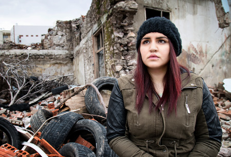 deconstruction: Wreckage Deconstruction Area and Young Woman Stock Photo