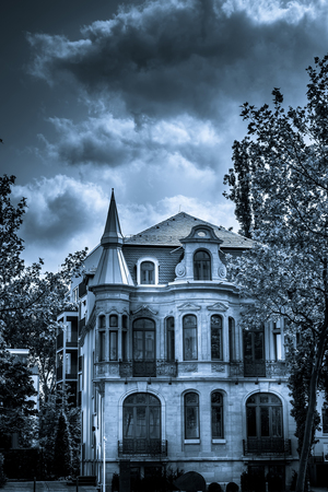 Scary Horror and Mystic Black and White House