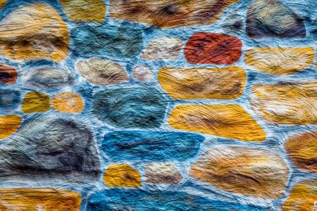 Painted Colorful Stone Wall