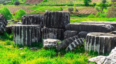 sard: Greek Temple of Artemis near Ephesus and Sardis Stock Photo