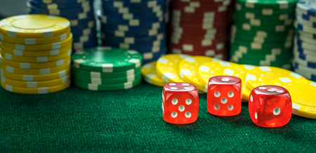 red dice: Gambling Red Dice and Money Chips