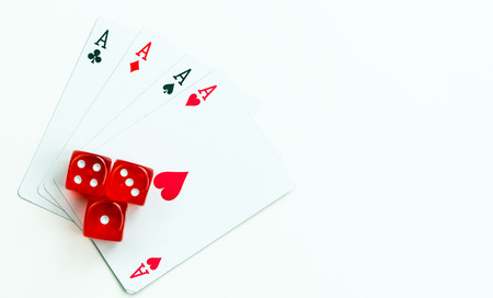 red dice: Gambling Game Cards and Red Dice