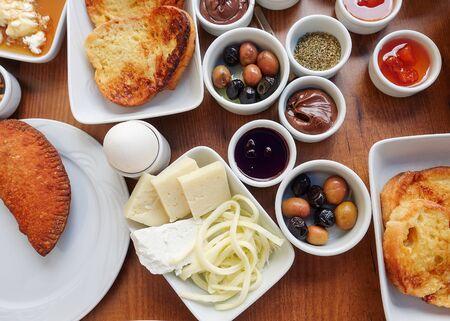 Traditional Rich Turkish Breakfast Фото со стока
