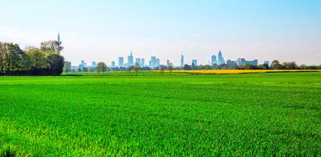 hessen: Green Field and City Frankfurt Germany Towers Stock Photo