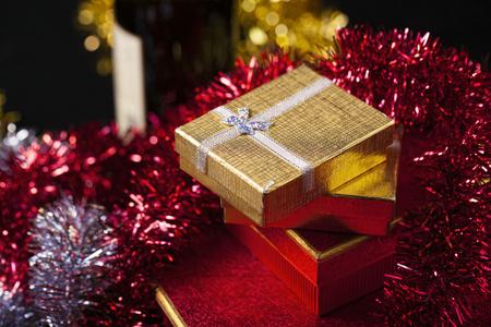 shiny gold: Celebration Decoration Surprise Gift Box Stock Photo
