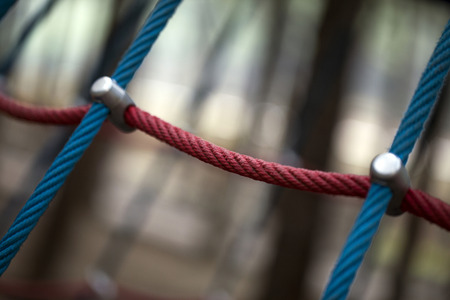 Rope in Playground Equipment in Park Stock Photo