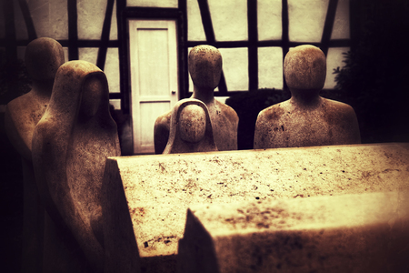 Retro Grunge People No Face and Rip Coffin Sculpture Stock Photo