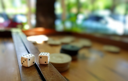 Eastern Traditional Strategy Game Backgammon and Dices