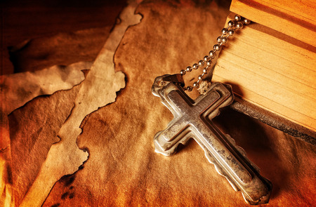 Christianity Religion Symbol Jesus Cross and Bible Stock Photo