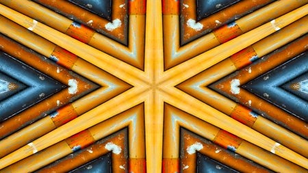 Abstract Colorful Hypnotic  Symmetric Pattern Ornamental Decorative Kaleidoscope Movement Geometric Circle and Star Shapes Stock Photo