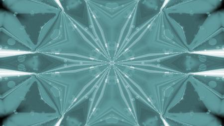 Abstraktes buntes glänzendes und hypnotisches Konzept Symmetrisches Muster Zierdekorative dekorative Kaleidoskopbewegung Geometrischer Kreis und Sternformen