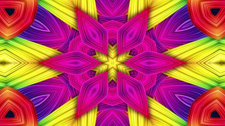 Abstract Colorful Hypnotic  Symmetric Pattern Ornamental Decorative Kaleidoscope Movement Geometric Circle and Star Shapes Reklamní fotografie
