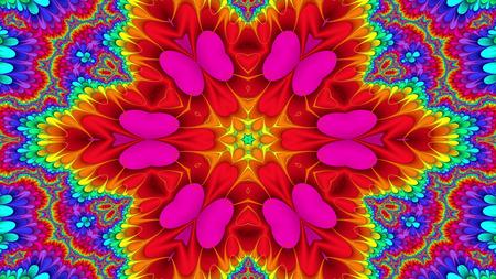 Patrón simétrico colorido abstracto Caleidoscopio decorativo ornamental Movimiento Círculo geométrico y formas de estrella