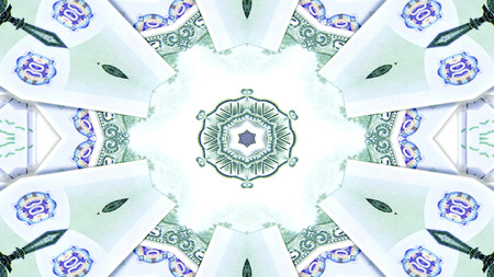 Abstract Money Concept Symmetric Pattern Ornamental Decorative Kaleidoscope Movement Geometric Circle and Star Shapes 스톡 콘텐츠