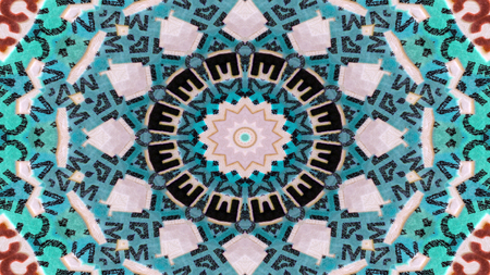 Abstract Numbers and Letters Concept Symmetric Pattern Ornamental Decorative Kaleidoscope Movement Geometric Circle and Star Shapes 스톡 콘텐츠
