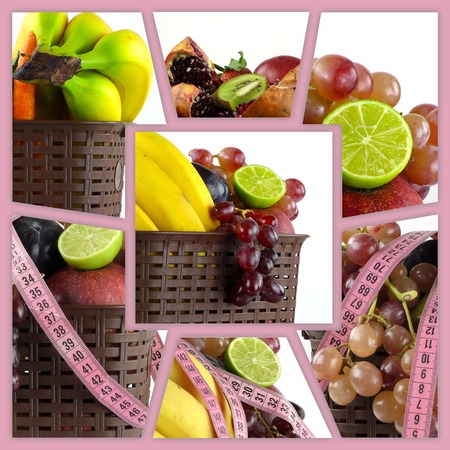 Healty Organic Mix of Fruits Collage Imagens