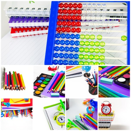 School Education Equipment Tools Collage Imagens