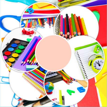 School Education Equipment Tools Collage Foto de archivo