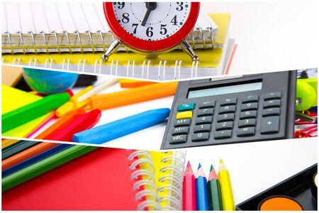 Schule Ausrüstung Werkzeuge Collage